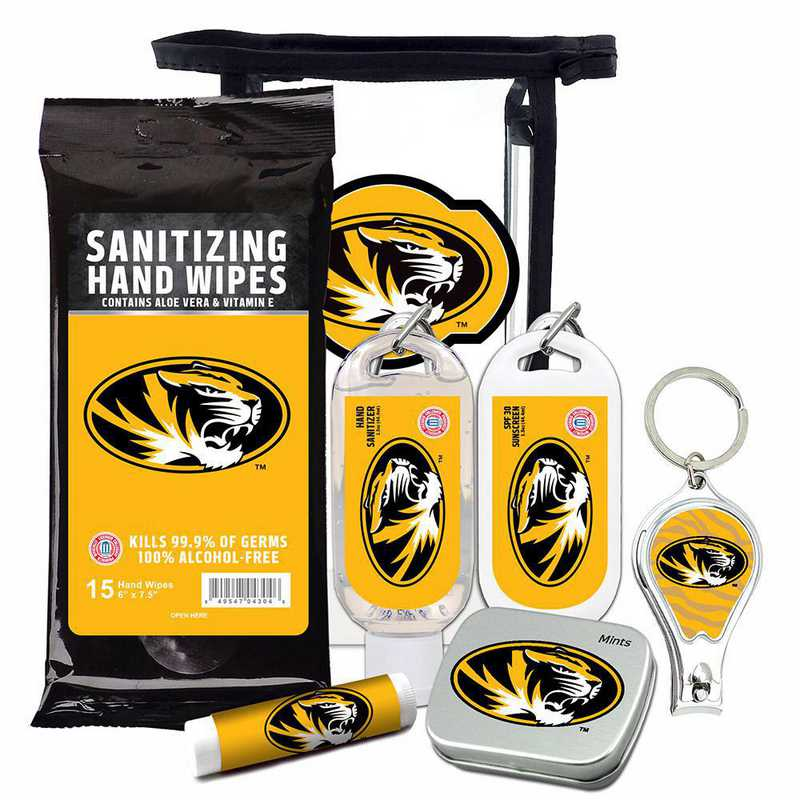 MO-UM-6PPK: Missouri Tigers Fan Kit with Mint Tin- Clippers- Sanitizer- Lip Balm- Sunscreen- Wipes