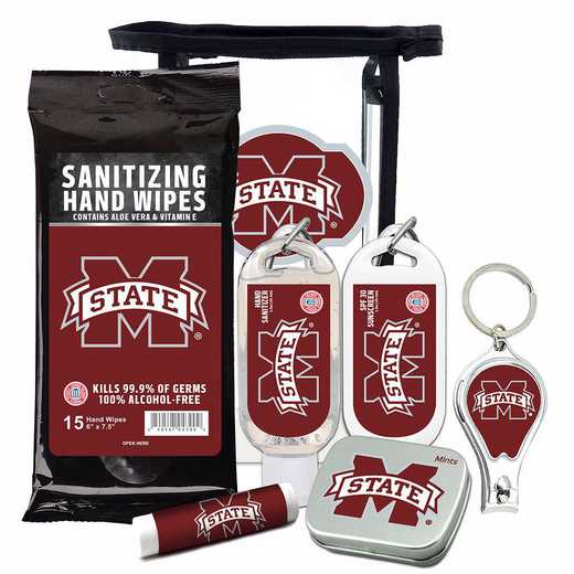 MS-MSU-6PPK: Mississippi State Bulldogs Fan Kit with Mint Tin- Clippers- Sanitizer- Lip Balm- Sunscreen- Wipes