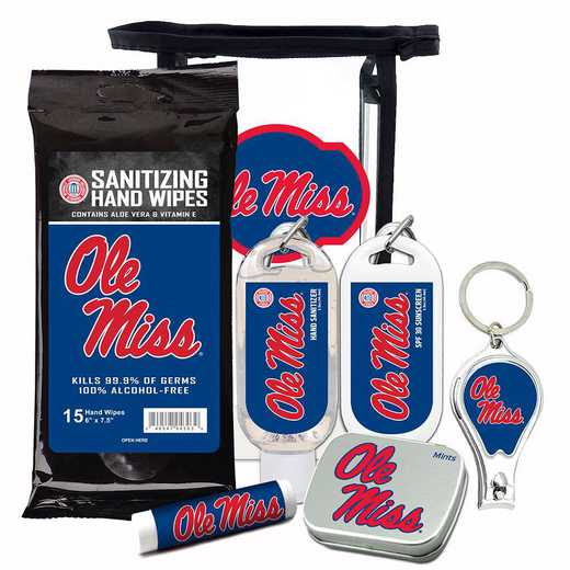 MS-OM-6PPK: Ole Miss Rebels Fan Kit with Mint Tin- Clippers- Sanitizer- Lip Balm- Sunscreen- Wipes