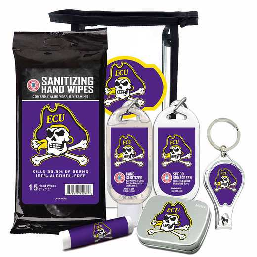 NC-ECU-6PPK: East Carolina Pirates Fan Kit with Mint Tin- Clippers- Sanitizer- Lip Balm- Sunscreen- Wipes