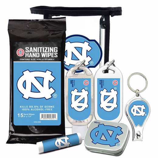 NC-UNC-6PPK: North Carolina Tar Heels Fan Kit with Mint Tin- Clippers- Sanitizer- Lip Balm- Sunscreen- Wipes