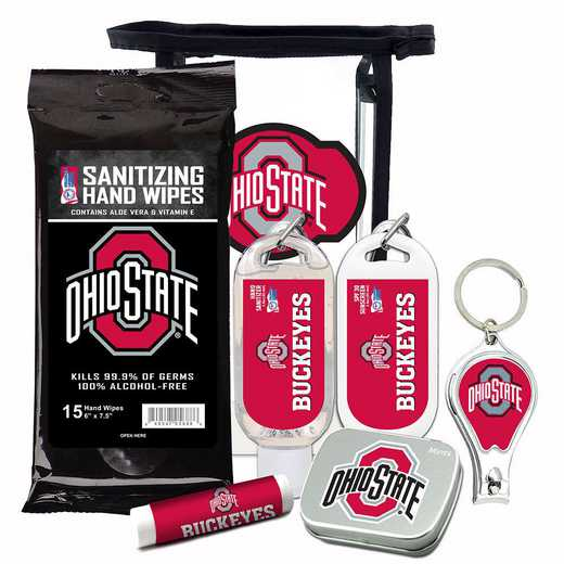 OH-OSU-6PPK: Ohio State Buckeyes Fan Kit with Mint Tin- Clippers- Sanitizer- Lip Balm- Sunscreen- Wipes
