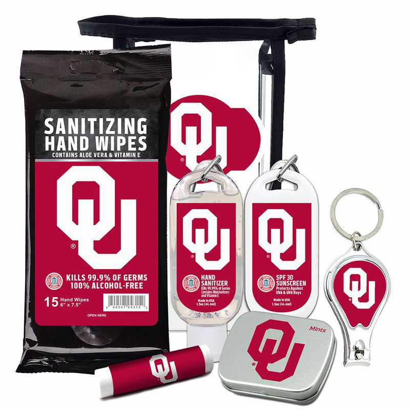 OK-OU-6PPK: Oklahoma Sooners Fan Kit with Mint Tin- Clippers- Sanitizer- Lip Balm- Sunscreen- Wipes