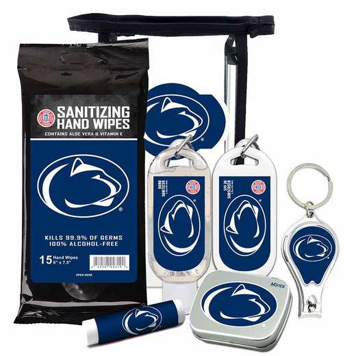 PA-PSU-6PPK: Penn State Fan Kit with Mint Tin- Clippers- Sanitizer- Lip Balm- Sunscreen- Wipes