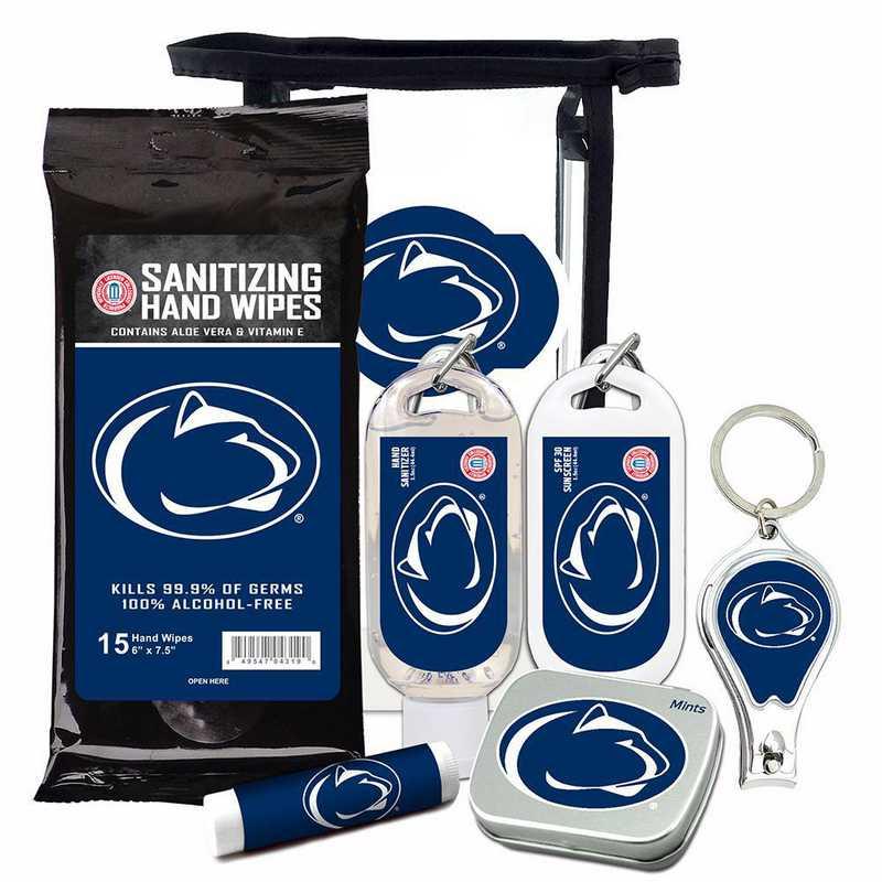 PA-PSU-6PPK: Penn State Fan Kit with Mint Tin- Clippers- Sanitizer- Lip Balm- Sunscreen- Wipes