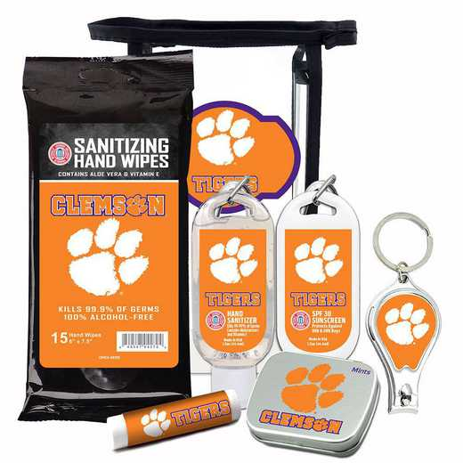 SC-CL-6PPK: Clemson Tigers Fan Kit with Mint Tin- Clippers- Sanitizer- Lip Balm- Sunscreen- Wipes