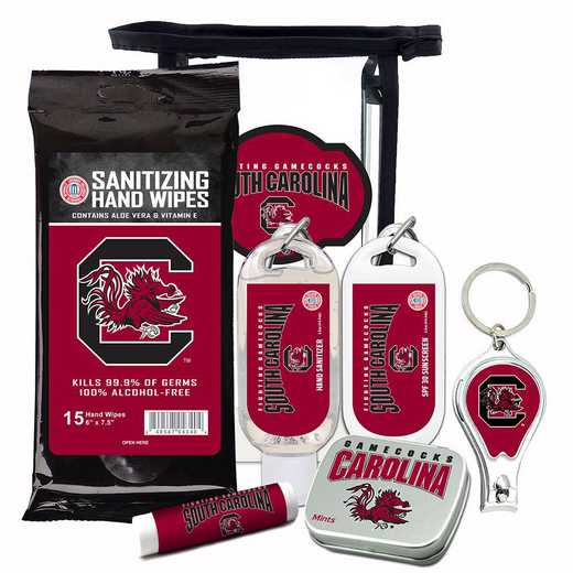 SC-USC-6PPK: South Carolina Gamecocks Fan Kit with Mint Tin- Clippers- Sanitizer- Lip Balm- Sunscreen- Wipes