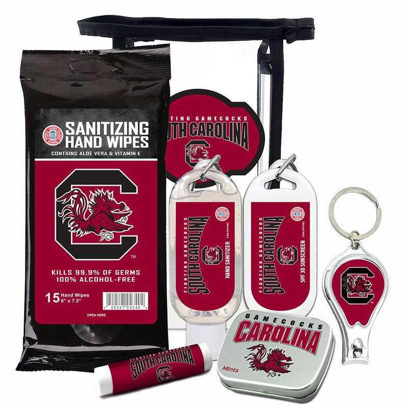 SC-USC-6PPK: South Carolina Gamecocks Fan Kit with Mint Tin- Clippers- Sanitizer- Lip Balm- Sunscreen- Wipes