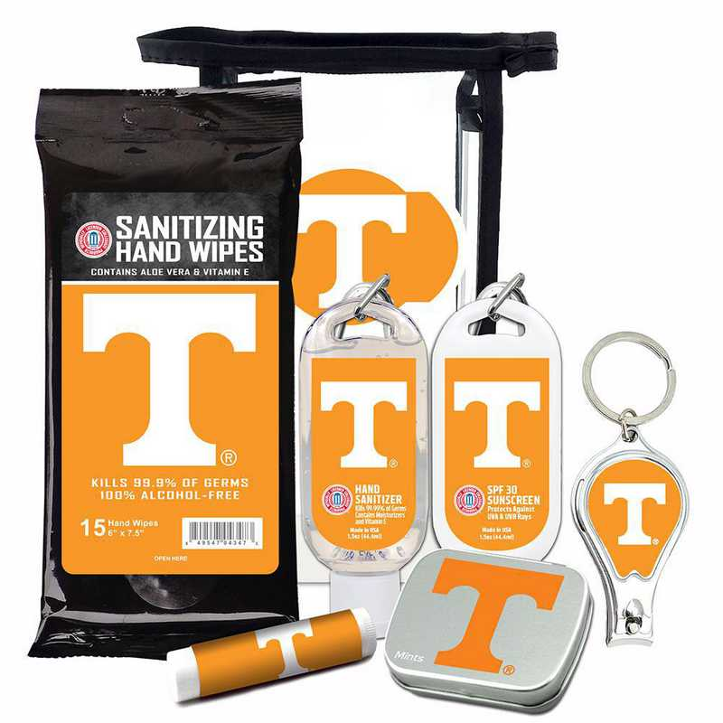 TN-UT-6PPK: Tennessee Volunteers Fan Kit with Mint Tin- Clippers- Sanitizer- Lip Balm- Sunscreen- Wipes