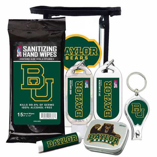 TX-BU-6PPK: Baylor Bears Fan Kit with Mint Tin- Clippers- Sanitizer- Lip Balm- Sunscreen- Wipes