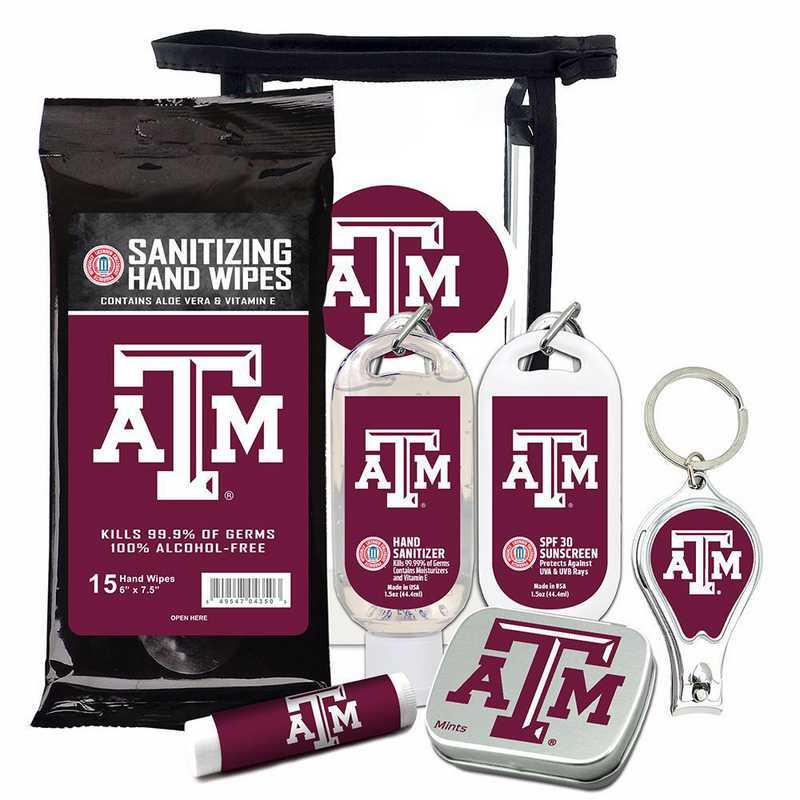 TX-TAM-6PPK: Texas A&M Aggies Fan Kit with Mint Tin- Clippers- Sanitizer- Lip Balm- Sunscreen- Wipes