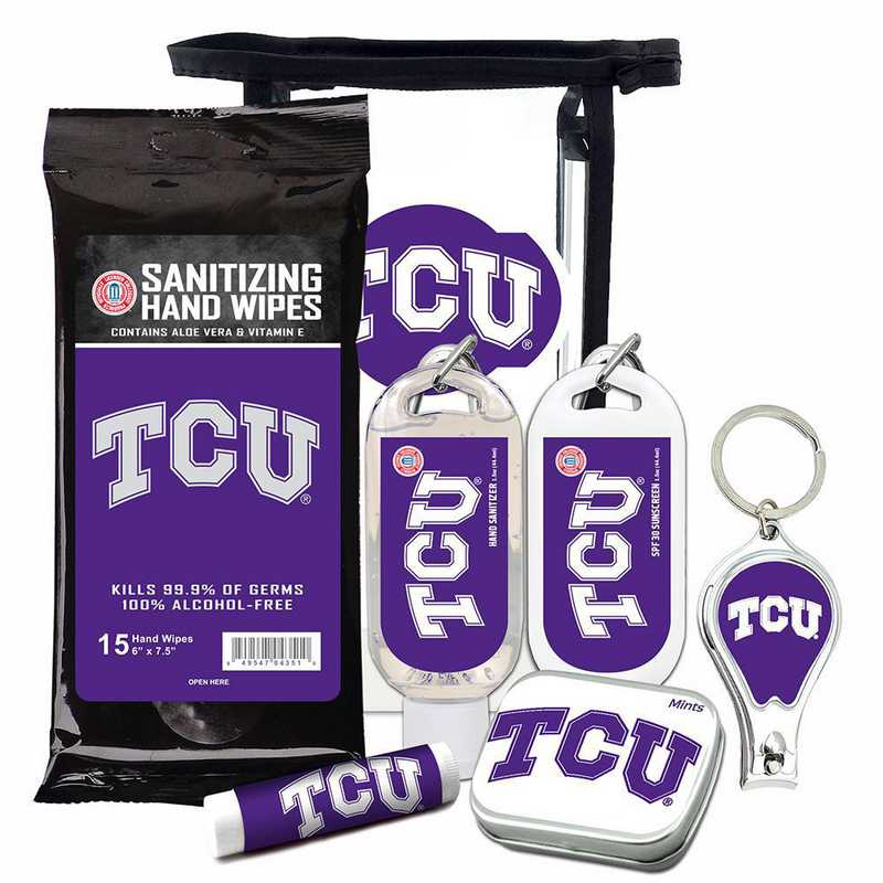 TX-TCU-6PPK: TCU Horned Frogs Fan Kit with Mint Tin- Clippers- Sanitizer- Lip Balm- Sunscreen- Wipes