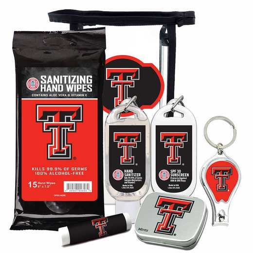 TX-TXT-6PPK: Texas Tech Red Raiders Fan Kit with Mint Tin- Clippers- Sanitizer- Lip Balm- Sunscreen- Wipes