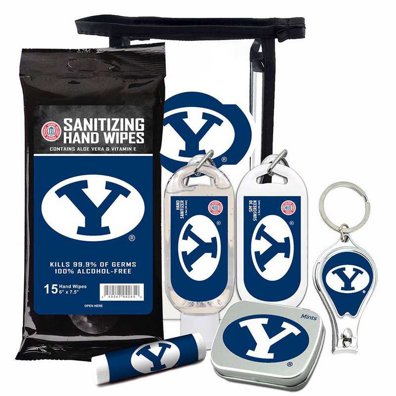 UT-BYU-6PPK: Brigham Young Cougars Fan Kit with Mint Tin- Clippers- Sanitizer- Lip Balm- Sunscreen- Wipes