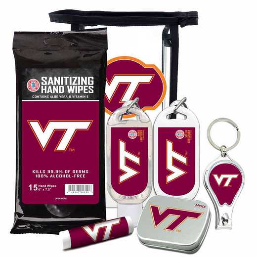VA-VT-6PPK: Virginia Tech Hokies Fan Kit with Mint Tin- Clippers- Sanitizer- Lip Balm- Sunscreen- Wipes