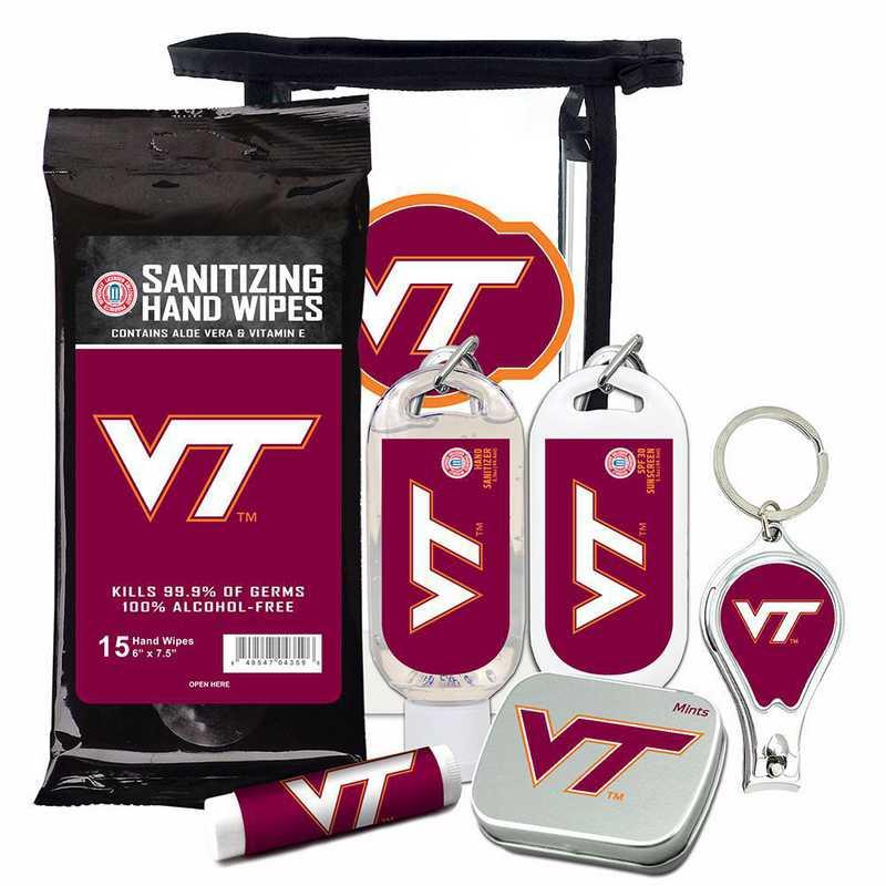 VA-VT-6PPK: Virginia Tech Hokies Fan Kit with Mint Tin- Clippers- Sanitizer- Lip Balm- Sunscreen- Wipes