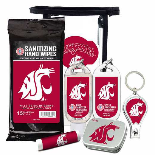WA-WSU-6PPK: Washington State Cougars Fan Kit with Mint Tin- Clippers- Sanitizer- Lip Balm- Sunscreen- Wipes