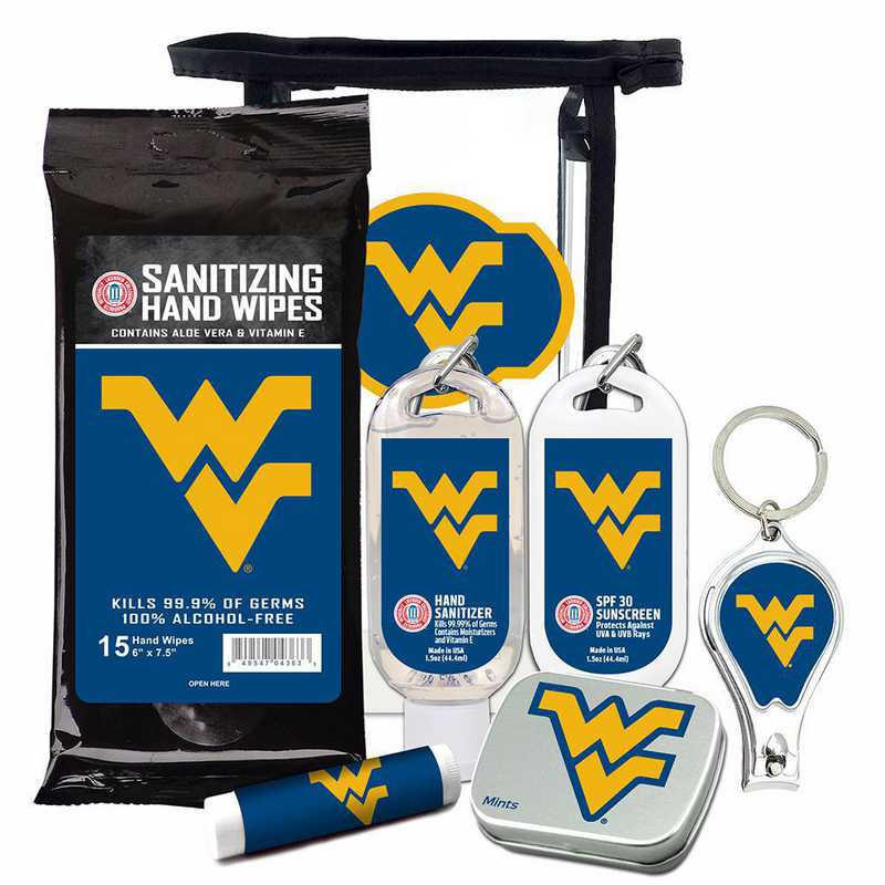 WV-WVU-6PPK: West Virginia Mountaineers Fan Kit with Mint Tin- Clippers- Sanitizer- Lip Balm- Sunscreen- Wipes