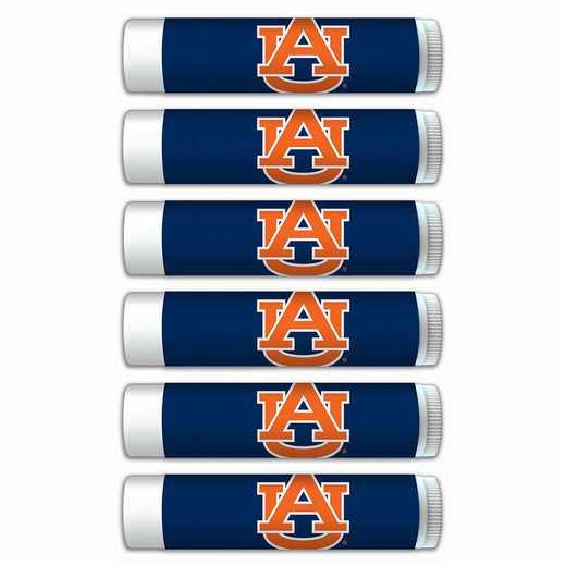 AL-AU-6PKSM: Auburn Tigers Premium Lip Balm 6-Pack with SPF 15- Beeswax- Coconut Oil- Aloe Vera