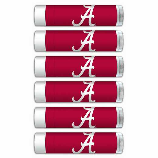 AL-UA-6PKSM: Alabama Crimson Tide Premium Lip Balm 6-Pack with SPF 15- Beeswax- Coconut Oil- Aloe Vera