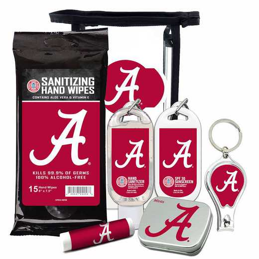 AL-UA-6PPK: Alabama Crimson Tide Fan Kit with Mint Tin- Clippers- Sanitizer- Lip Balm- Sunscreen- Wipes