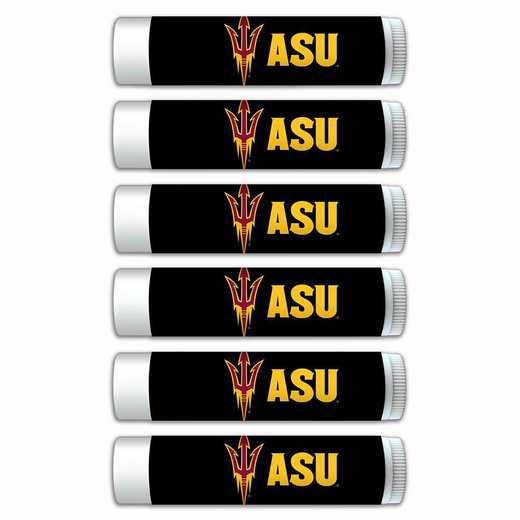 AZ-ASU-6PKSM: Arizona State Sun Devils Premium Lip Balm 6-Pack with SPF 15- Beeswax- Coconut Oil- Aloe Vera