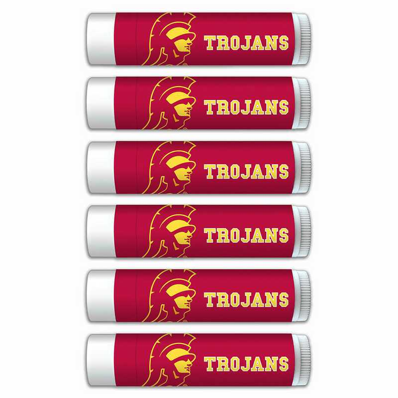 CA-USC-6PKSM: Southern Cal (USC) Trojans Premium Lip Balm 6-Pack with SPF 15- Beeswax- Coconut Oil- Aloe Vera