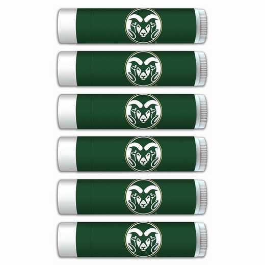CO-CSU-6PKSM: Colorado State Rams Premium Lip Balm 6-Pack with SPF 15- Beeswax- Coconut Oil- Aloe Vera