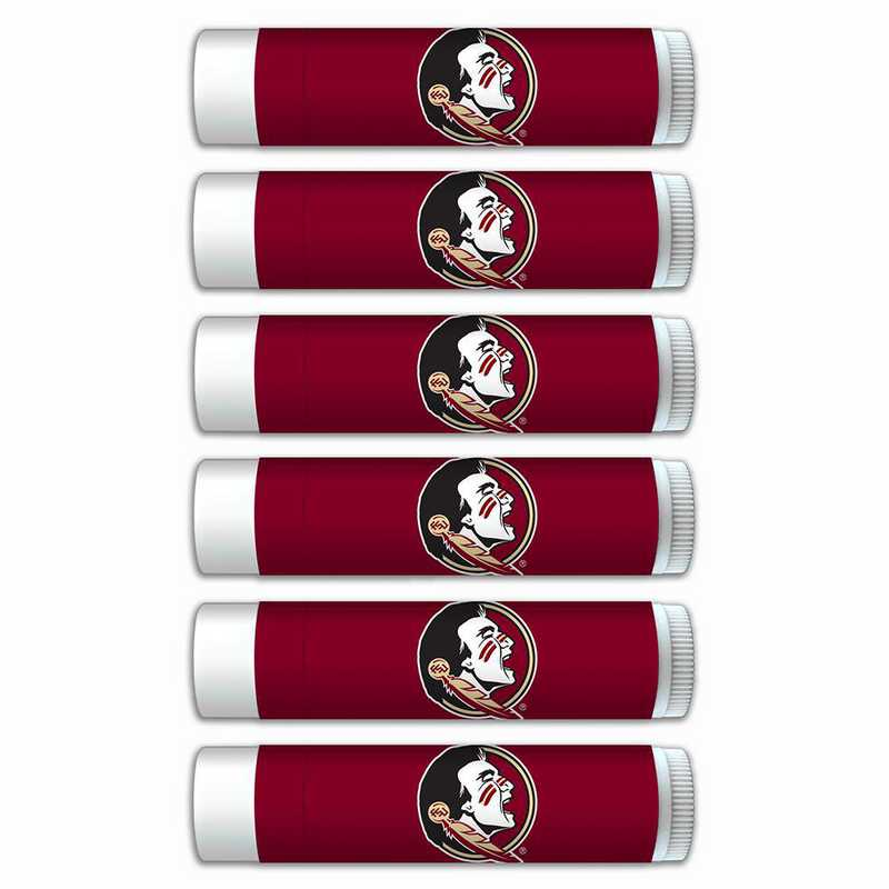 FL-FSU-6PKSM: Florida State Seminoles Premium Lip Balm 6-Pack with SPF 15- Beeswax- Coconut Oil- Aloe Vera
