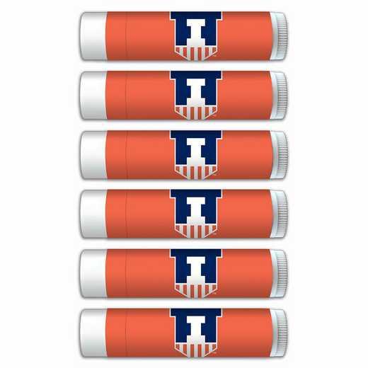 IL-UI-6PKSM: Illinois Fighting Illini Premium Lip Balm 6-Pack with SPF 15- Beeswax- Coconut Oil- Aloe Vera