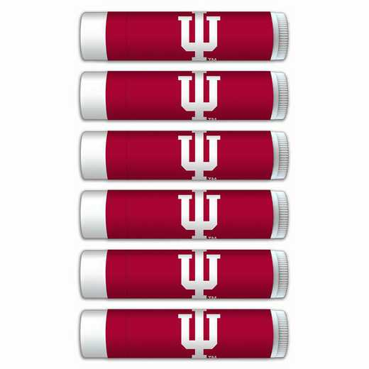 IN-IU-6PKSM: Indiana Hoosiers Premium Lip Balm 6-Pack with SPF 15- Beeswax- Coconut Oil- Aloe Vera