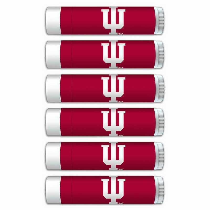 IN-IU-6PKSM: Indiana Hoosiers Premium Lip Balm 6-Pack with SPF 15- Beeswax- Coconut Oil- Aloe Vera