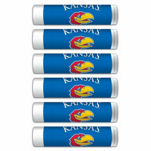 KS-KU-6PKSM: Kansas Jayhawks Premium Lip Balm 6-Pack with SPF 15- Beeswax- Coconut Oil- Aloe Vera