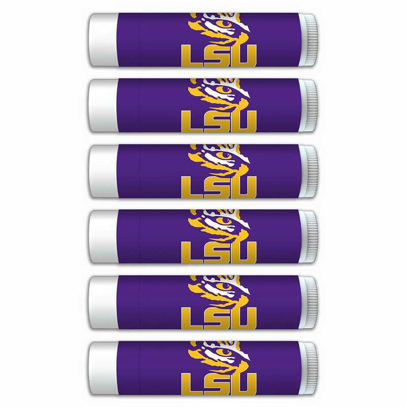 LA-LSU-6PKSM: LSU Tigers Premium Lip Balm 6-Pack with SPF 15- Beeswax- Coconut Oil- Aloe Vera