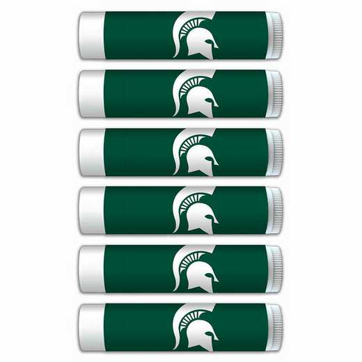 MI-MSU-6PKSM: Michigan State Spartans Premium Lip Balm 6-Pack with SPF 15- Beeswax- Coconut Oil- Aloe Vera