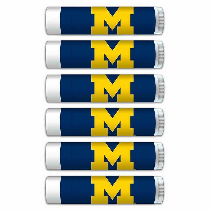 MI-UM-6PKSM: Michigan Wolverines Premium Lip Balm 6-Pack with SPF 15- Beeswax- Coconut Oil- Aloe Vera