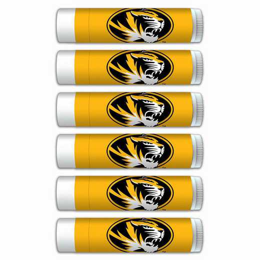 MO-UM-6PKSM: Missouri Tigers Premium Lip Balm 6-Pack with SPF 15- Beeswax- Coconut Oil- Aloe Vera