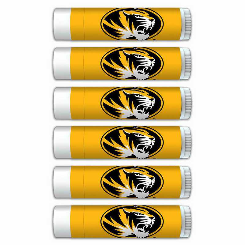 MO-UM-6PKSM: Missouri Tigers Premium Lip Balm 6-Pack with SPF 15- Beeswax- Coconut Oil- Aloe Vera