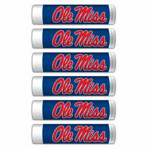MS-OM-6PKSM: Mississippi (Ole Miss) Rebels Premium Lip Balm 6-Pack with SPF 15- Beeswax- Coconut Oil- Aloe Vera