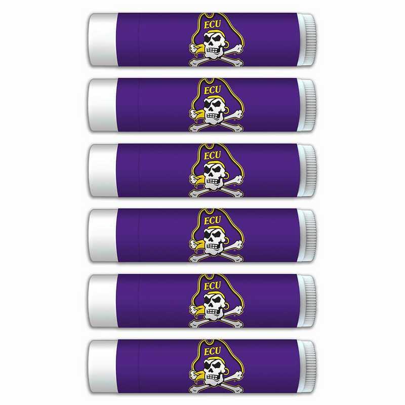 NC-ECU-6PKSM: East Carolina Pirates Premium Lip Balm 6-Pack with SPF 15- Beeswax- Coconut Oil- Aloe Vera