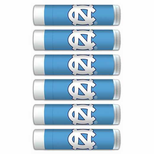NC-UNC-6PKSM: North Carolina Tar Heels Premium Lip Balm 6-Pack with SPF 15- Beeswax- Coconut Oil- Aloe Vera