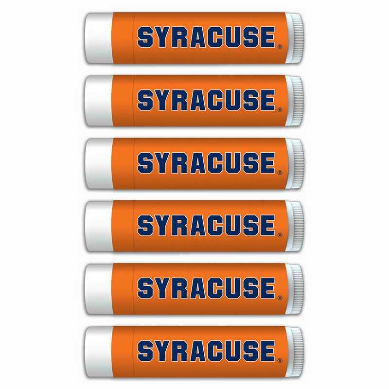 NY-SU-6PKSM: Syracuse Orange Premium Lip Balm 6-Pack with SPF 15- Beeswax- Coconut Oil- Aloe Vera