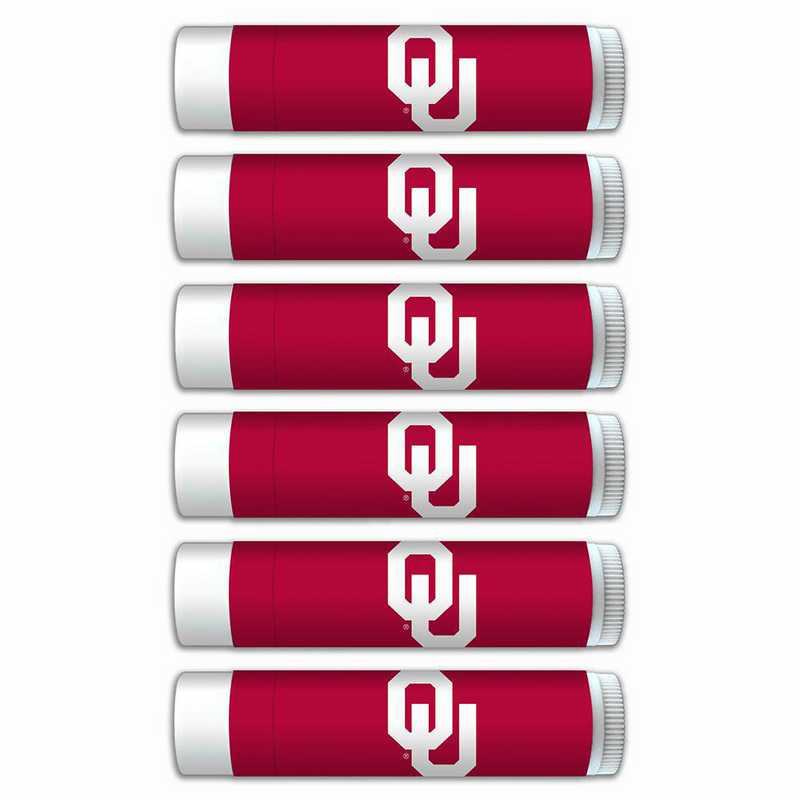 OK-OU-6PKSM: Oklahoma Sooners Premium Lip Balm 6-Pack with SPF 15- Beeswax- Coconut Oil- Aloe Vera