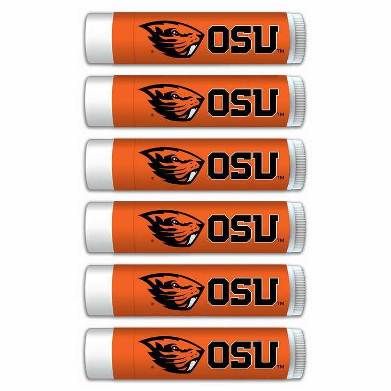 OR-OSU-6PKSM: Oregon State Beavers Premium Lip Balm 6-Pack with SPF 15- Beeswax- Coconut Oil- Aloe Vera