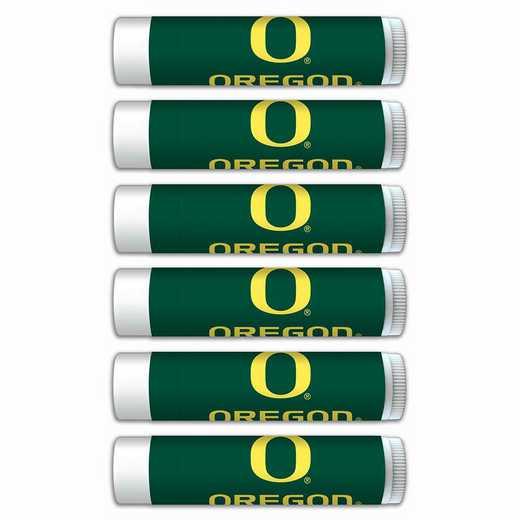 OR-UO-6PKSM: Oregon Ducks Premium Lip Balm 6-Pack with SPF 15- Beeswax- Coconut Oil- Aloe Vera