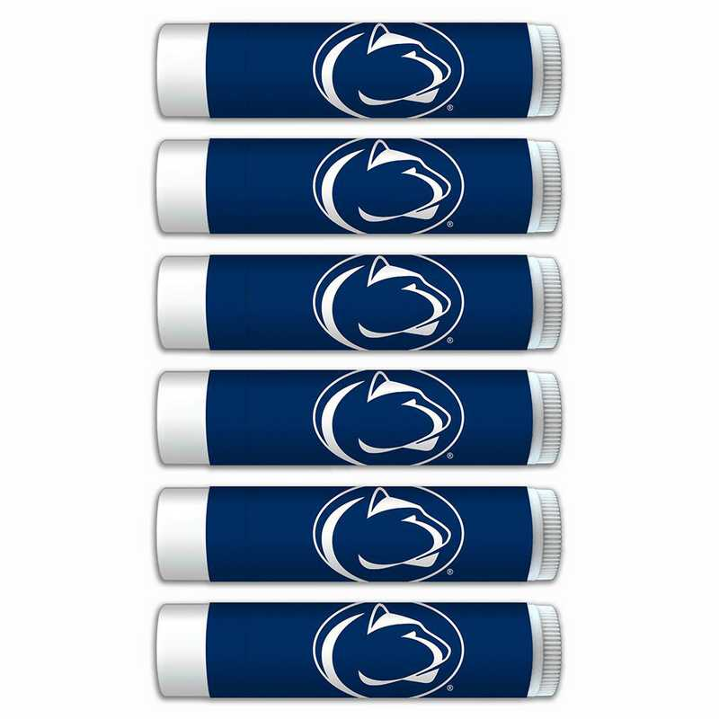 PA-PSU-6PKSM: Penn State Nittany Lions Premium Lip Balm 6-Pack with SPF 15- Beeswax- Coconut Oil- Aloe Vera