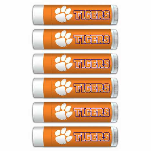SC-CL-6PKSM: Clemson Tigers Premium Lip Balm 6-Pack with SPF 15- Beeswax- Coconut Oil- Aloe Vera