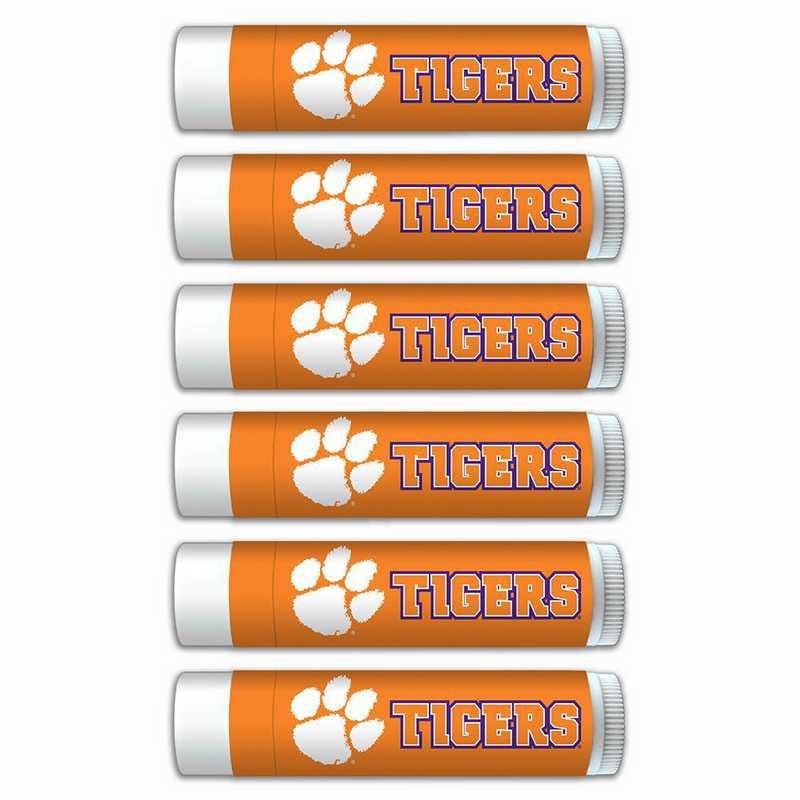 SC-CL-6PKSM: Clemson Tigers Premium Lip Balm 6-Pack with SPF 15- Beeswax- Coconut Oil- Aloe Vera