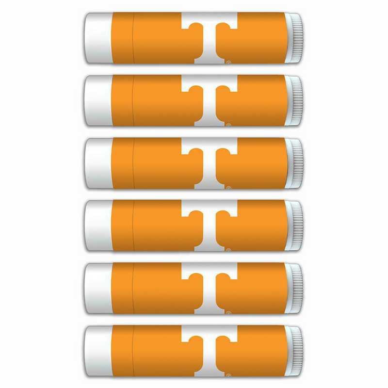 TN-UT-6PKSM: Tennessee Volunteers Premium Lip Balm 6-Pack with SPF 15- Beeswax- Coconut Oil- Aloe Vera