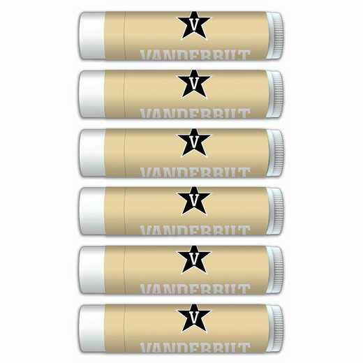 TN-VU-6PKSM: Vanderbilt Commodores Premium Lip Balm 6-Pack with SPF 15- Beeswax- Coconut Oil- Aloe Vera